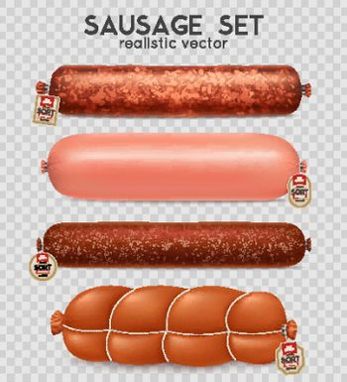 Realistic Transparent Sausage Set