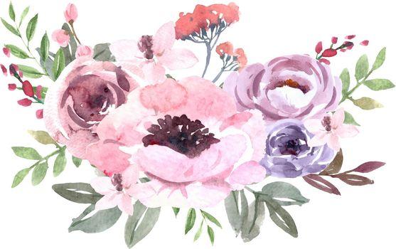 Bouquet Icon for Unique Cover Decoration, Exotic Stroke flowers vector illustration Template design