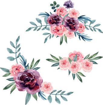 Bouquet card design for Special Occasion , creative watercolor vector illustration design template