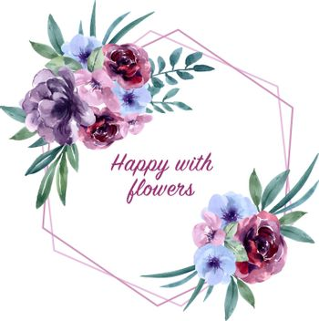 Bouquet card design for Special Occasion , exotic watercolor vector illustration design template