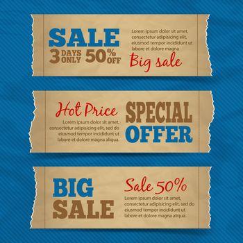 Cardboard sale banners set