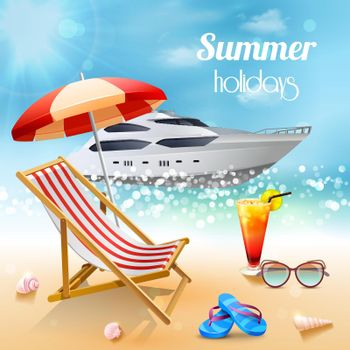 Realistic Summer Holidays Composition