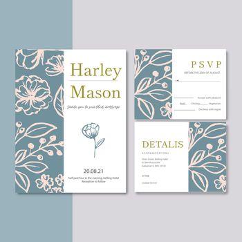 Wedding Invitation design with plants Romantic, contrast flower watercolor vector illustration