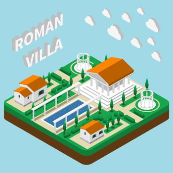 Roman Villa Isometric Composition