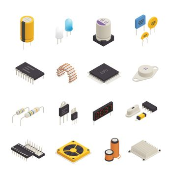 Semiconductor Electronic Components Isometric Set