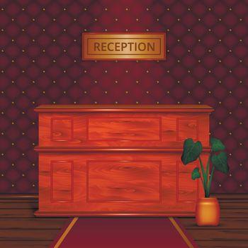 Reception Desk Hotel Interior Realistic