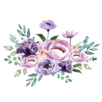 Bouquet Icon for Unique Cover Decoration, Exotic purple flowers vector illustration Template design
