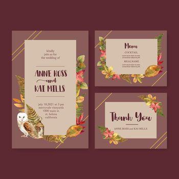 Wedding Invitation watercolour design with autumn theme, contrast colours vector illustration