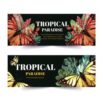 Banner design with butterfly and tropical plants, contrast color vector illustration template.