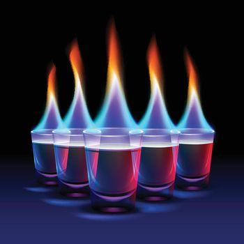 Set of Burning cocktails