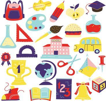 Schcool Accessories Symbols Icons Set
