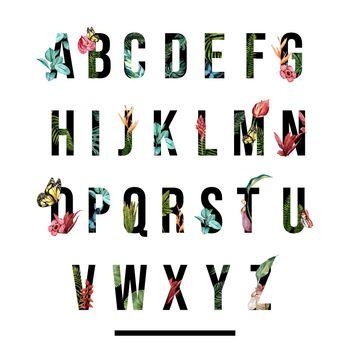 Decorative floral tropical alphabet English font. Watercolor tropic foliage and flowers ornament.