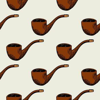 Seamless pattern with smoking pipe