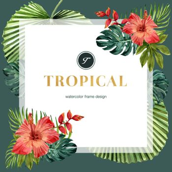 Tropical-themed frame design with Hibiscus and leaf concept, contrast color illustration template.