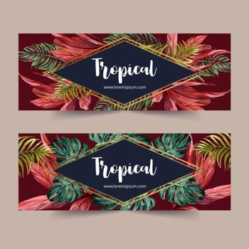 Banner design with monstera, palms and red leaves concept, contrast color vector illustration.