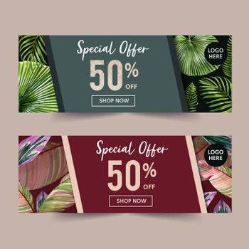 Banner design with simple tropical theme, creative watercolor vector illustration template.
