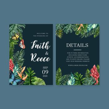 Wedding Invitation watercolor design with butterfly and leaves, contrast color vector illustration.