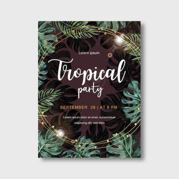 Tropical-themed Poster design with monstera leaves concept, contrast vector illustration template