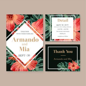 Wedding Invitation watercolor design with hibiscus and monstera, contrast color vector illustration