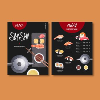 Sushi set menu for restaurant. Design template with watercolour graphic illustrations.