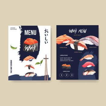 Design template with food watercolour graphic illustrations. Sushi menu vector for restaurant.