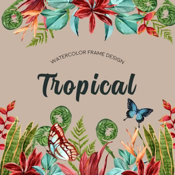 Tropical-themed frame design with butterfly and leaf concept, contrast color illustration template.
