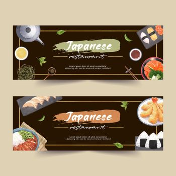 Sushi set illustration for banners. Contrast watercolor template design for commercial use.