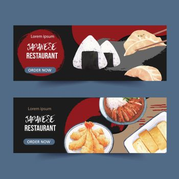 Japanese food illustration for banner. Creative with watercolor graphic design for advertisement.