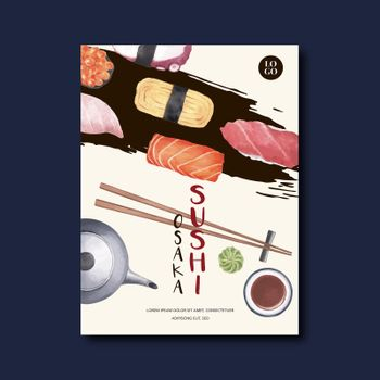 Poster for advertisement of Sushi Restaurant. Vector illustration design in unique style