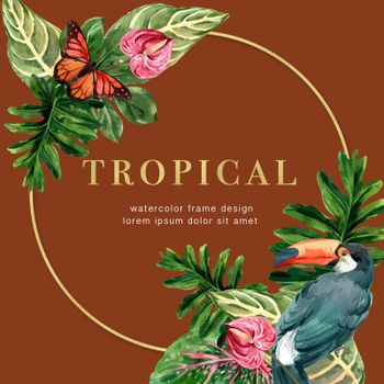 Tropical-themed frame design with tropic leaf concept, creative Toucan and butterfly illustration.