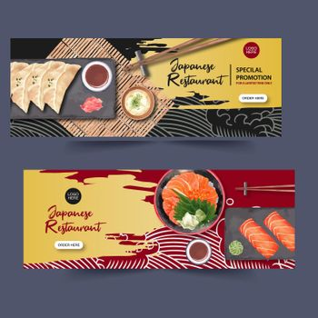 Template for banners. design sushi-themed with watercolor. Contrast colors vector illustration