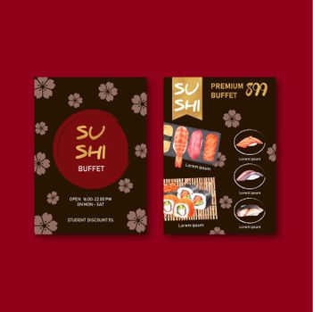 Sushi menu collection design with sakura background and food  watercolor graphic illustration.