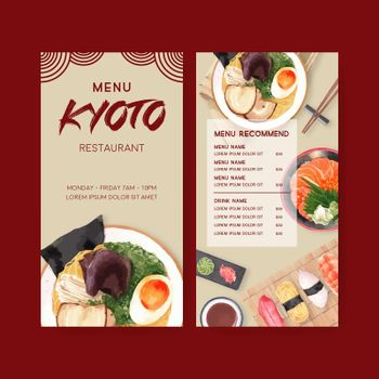 Japanese Sushi, design with food watercolor illustrations. Contrast vector illustration.