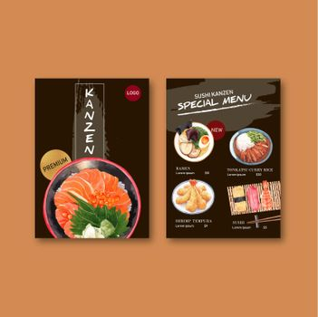 Special sushi menu collection design template with food watercolor graphic illustrations.
