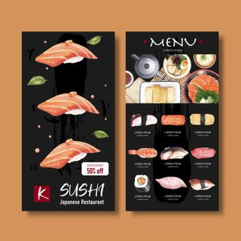 Sushi menu for caf' and restaurant. Design template with watercolor graphic illustrations.