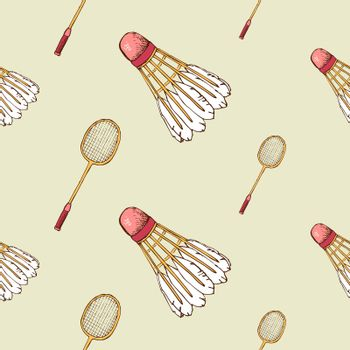 Pattern with shuttlecock and badminton racket
