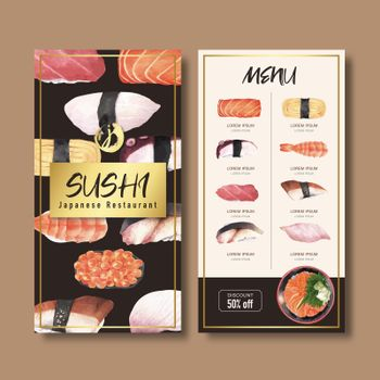 Sushi set menu for restaurant. Design template with watercolor graphic illustrations.