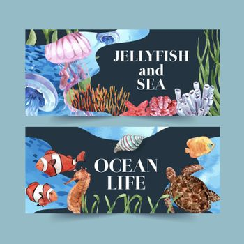 Banner design with classic sealife theme, creative contrast color vector illustration