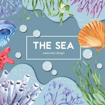 sealife themed frame design with animal under the sea, creative contrast color illustration template