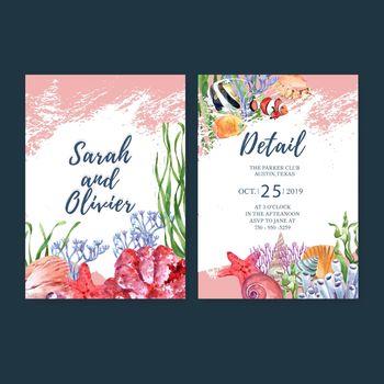 Wedding Invitation watercolor design with sealife theme, watercolor vector illustration template.