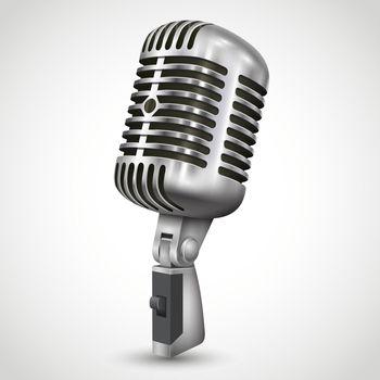 Realistic Single Silver Microphone Retro Design