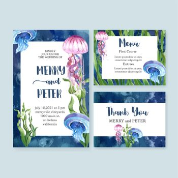 Wedding card watercolor design with beautiful sealife theme, contrast color vector illustration