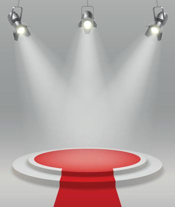 Realistic Stage With Spotlights