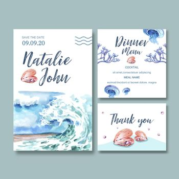 Wedding Invitation watercolor design with wave concept, creative watercolor vector illustration.