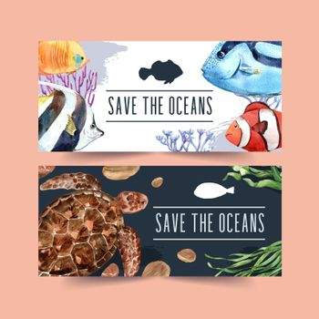 Banner design with fish and turtle concept, contrast color vector illustration