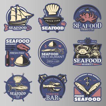 Seafood Emblem Set In Color