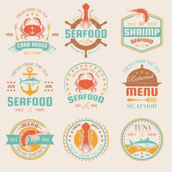 Seafood Colored Restaurant Emblems