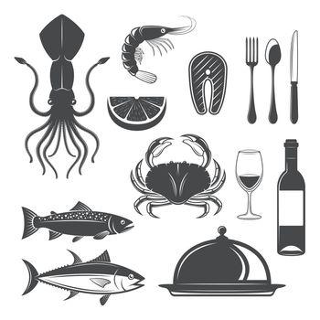 Seafood Monochrome Objects Set