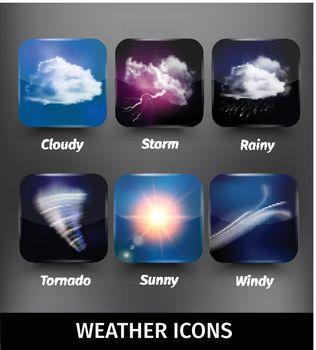Realistic Square Weather Icon Set