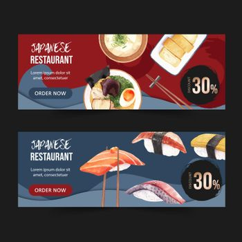 Trendy design for Sushi restaurant watercolor illustration. Contrast color in compact composition